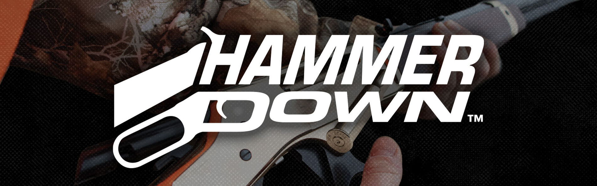 Man holding rifle with HammerDown Logo overlay