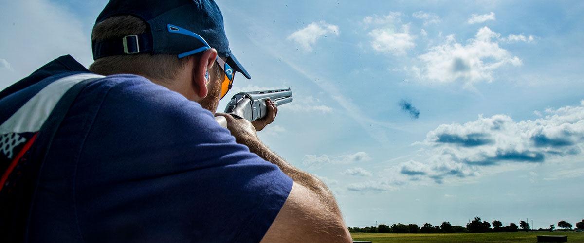Vincent Hancock shooting a shotgun