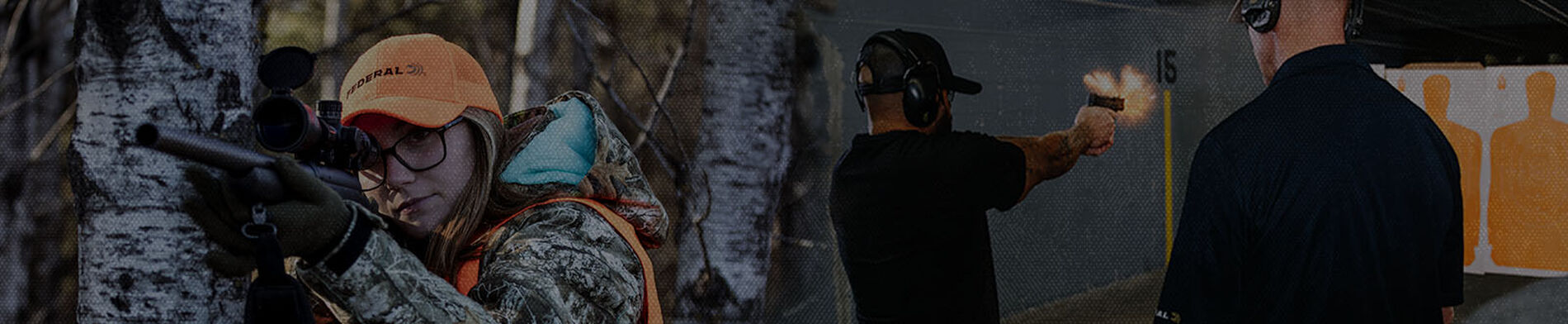 Lady shooting a rifle outside beside a guy shooting a handgun at an indoor range