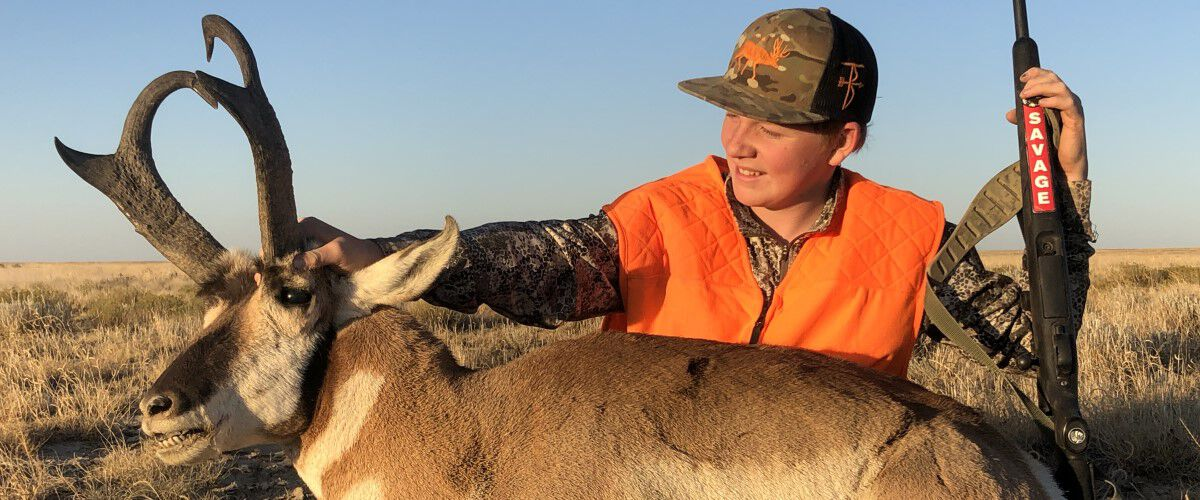 Young Hunter with his antelope